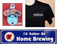 Fun stuff, bottle openers, tee shirts, swag at NorCal Brewing Solutions