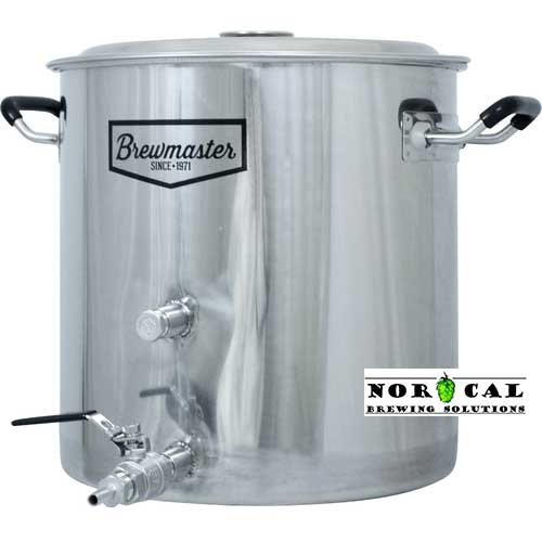 BrewMaster 8.5 Gallon Stainless Steel Kettle with 2 Couplings, Ball Valve