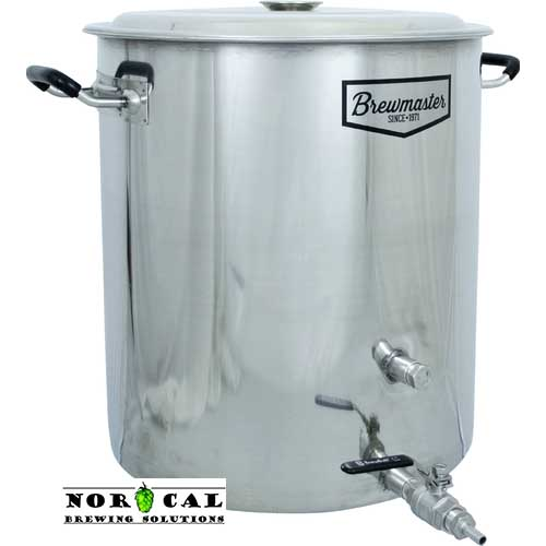 BrewMaster 14 Gallon Beer Brewing Kettle, 2 Couplings, Ball Valve, Nipple