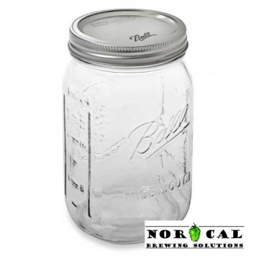 Ball, Kerr, or Mason 32 Ounce Wide Mouth canning jar with lid, band