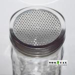Ball, Kerr, Mason Wide Mouth canning jar 304 stainless steel mesh lid on Jar