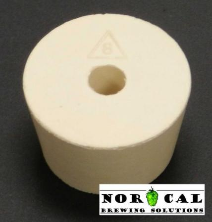 Drilled No. 8 rubber stopper bung with hole top view