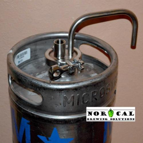 Tri Clover Blow Off Tube and Coupling on 1/6 Barrel Keg Closeup