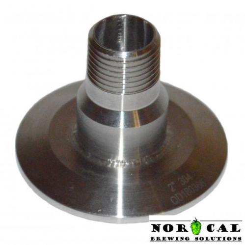 2 inch tri-clover pass-through cap with half inch NPT male, female connections