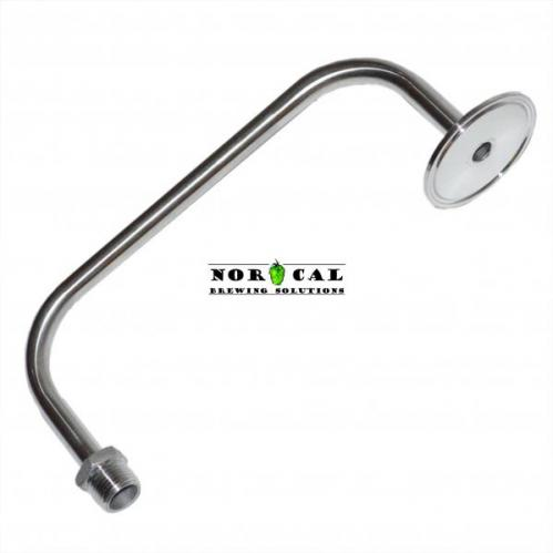 """2"""" Tri Clover Stainless Steel Blow Off Tube with Male NPT Fitting"""