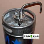 Tri Clover Blow Off Tube and NPT Tee on 1/6 Barrel Keg Closeup