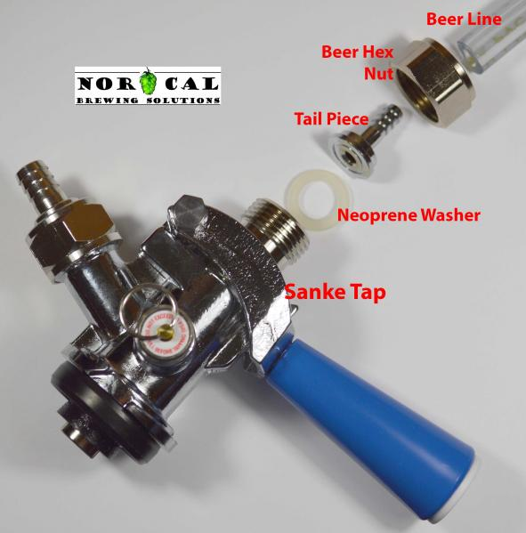 Sanke Tap Hookup Parts Logo hex nut to attach a barbed hose fitting to beer draft equipment